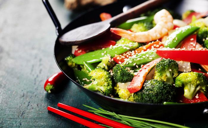 wok crevettes & légumes
