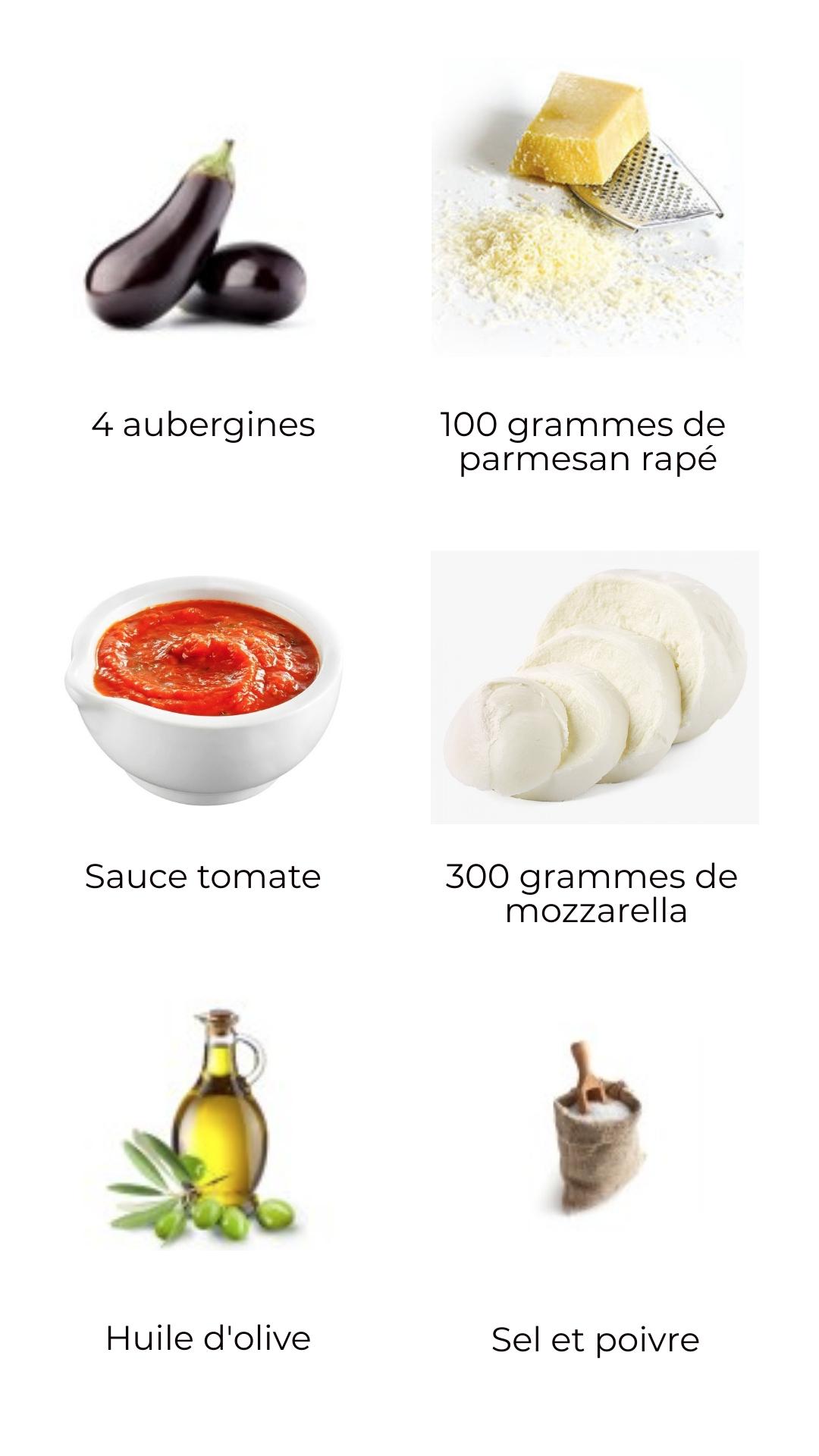 Ingrédients aubergines à la parmesane