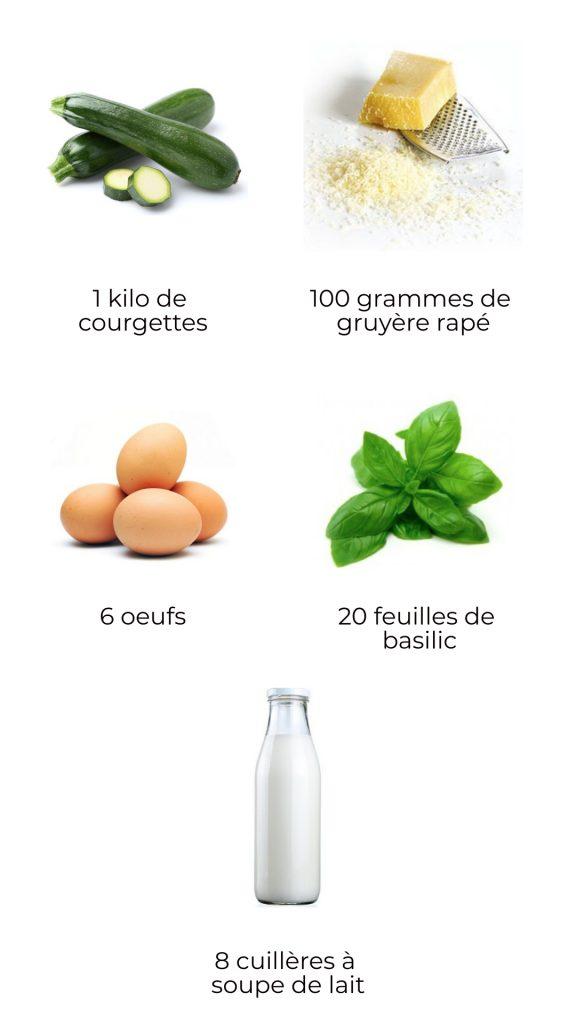Ingrédients flan de courgettes au basilic