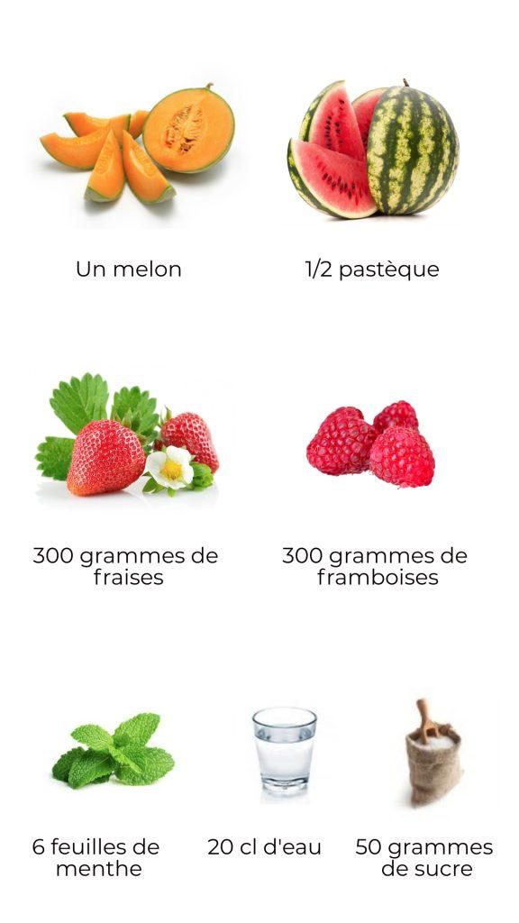 Ingrédients - Salade de fruits d'été
