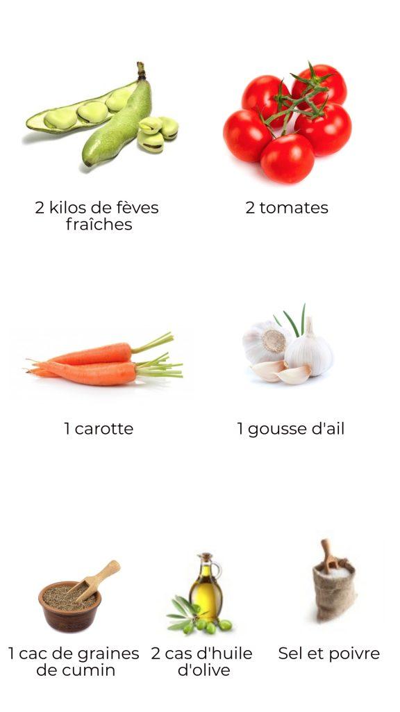 Ingrédients - fèves fraîches au cumin