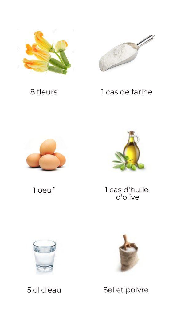 Ingrédients - fleurs de courgette (ou citrouille) pânées