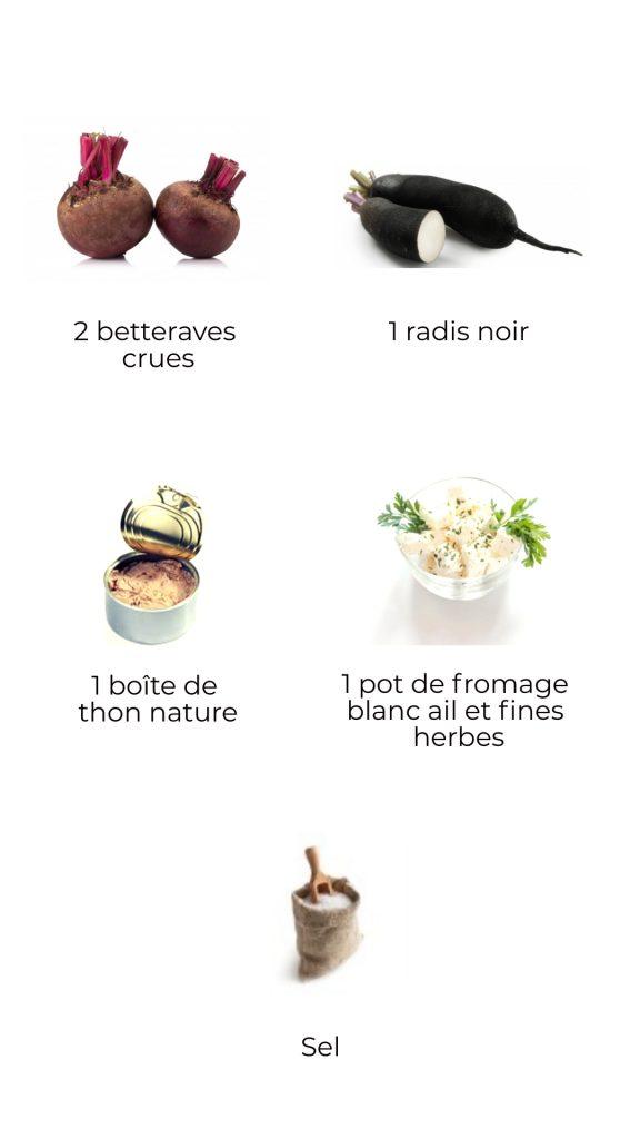 Ingrédients - rillette de betterave et thon
