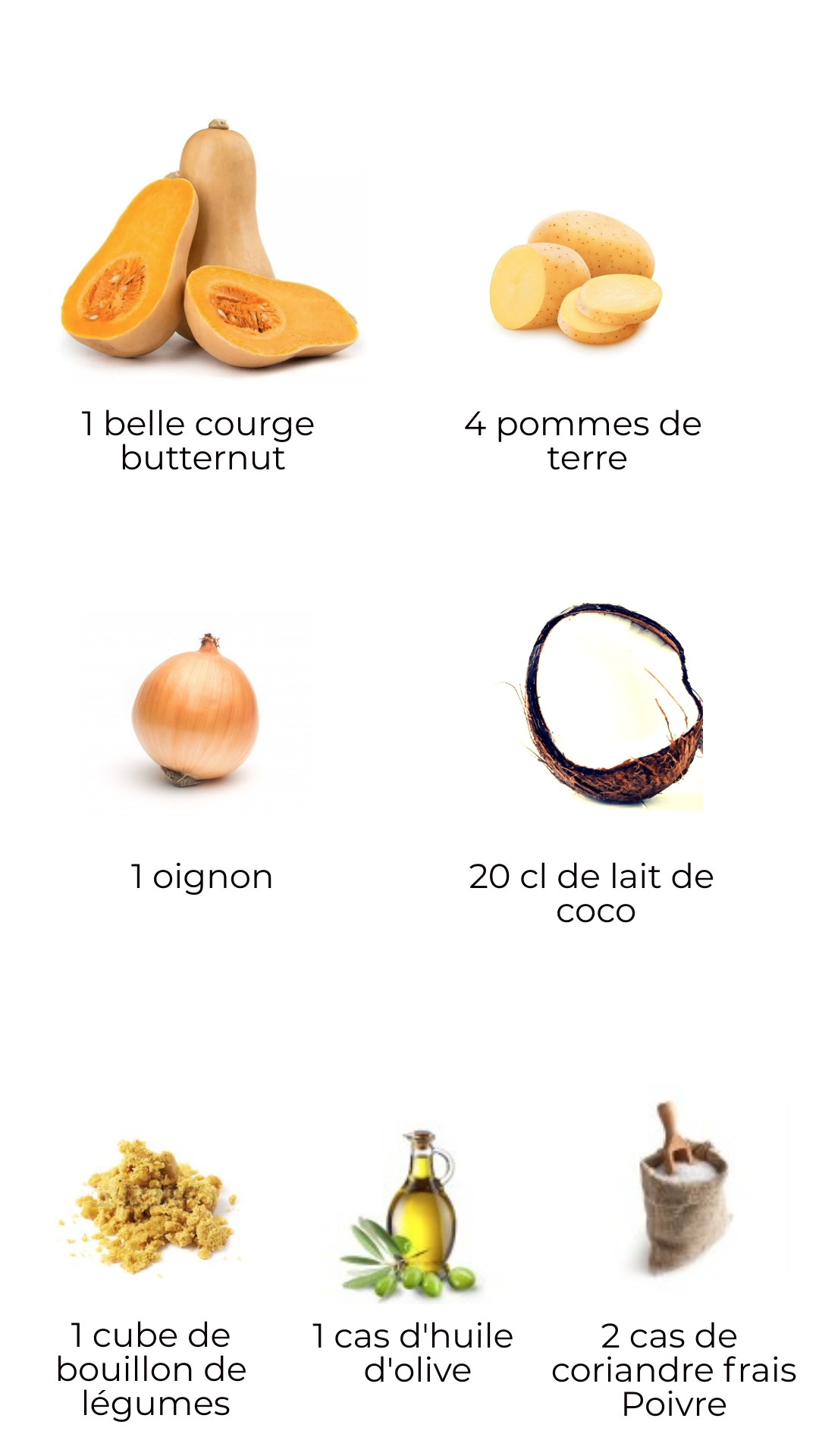 Ingrédients - soupe de courge butternut