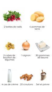 Ingrédients - soupe de fanes aux croûtons