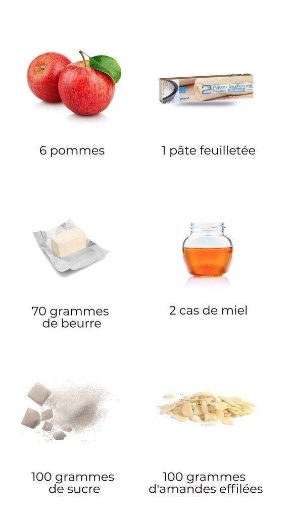 Ingrédients - tarte pommes et amandes au miel