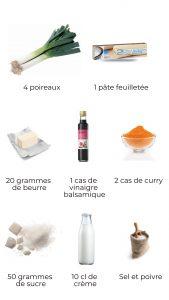 Ingrédients - tarte tatin de poireaux au curry