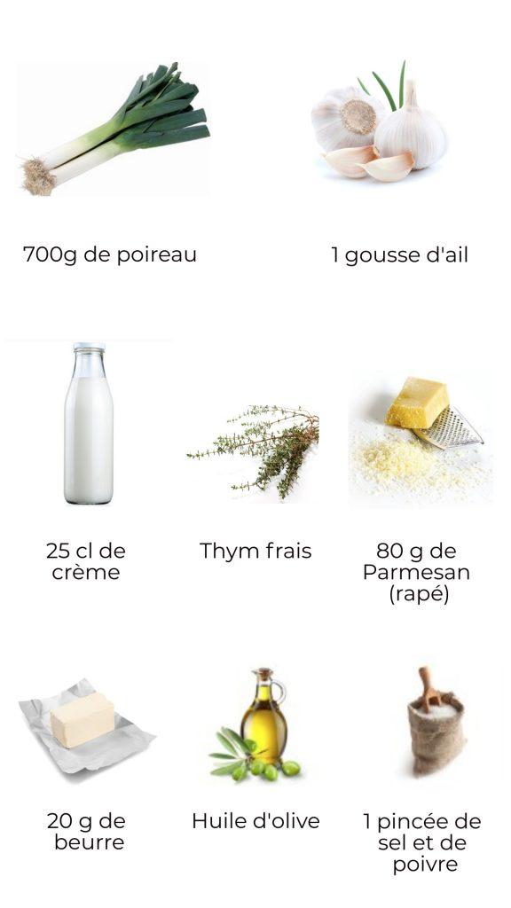 Ingrédients - Cassolette de poireau au parmesan