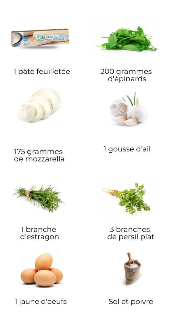 Ingrédients - Chaussons aux épinards et mozzarella