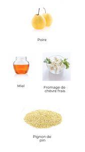 Ingrédients - Poire au miel et chèvre frais