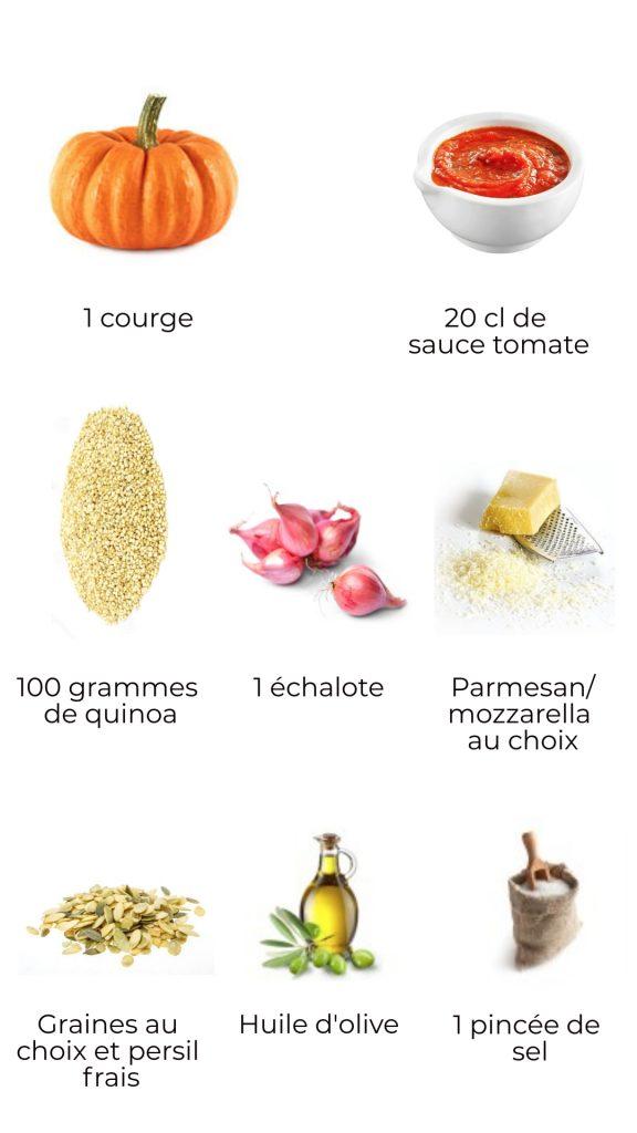 Ingrédients - courge gourmande farcie