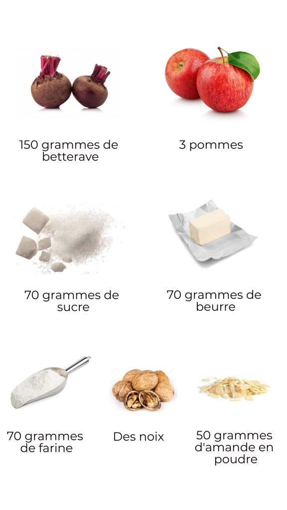Ingrédients - Crumble de betterave et noix