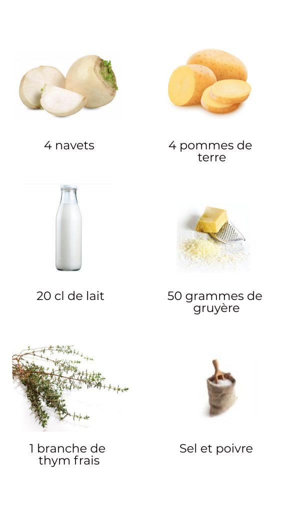 Ingrédients - Purée de navet et pomme de terre