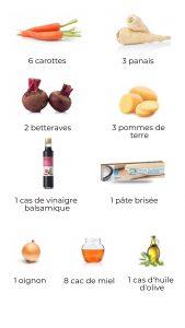 Ingrédients - Tarte tatin de légumes racine