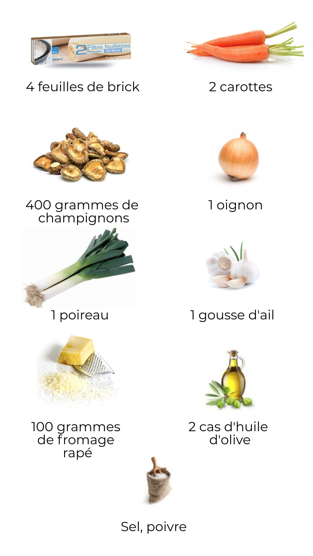Ingrédients - Aumonières végétariennes