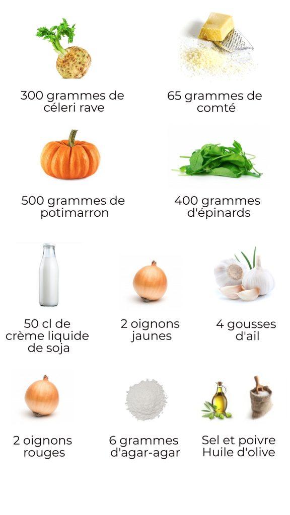 Ingrédients - Bûche salée aux 5 légumes