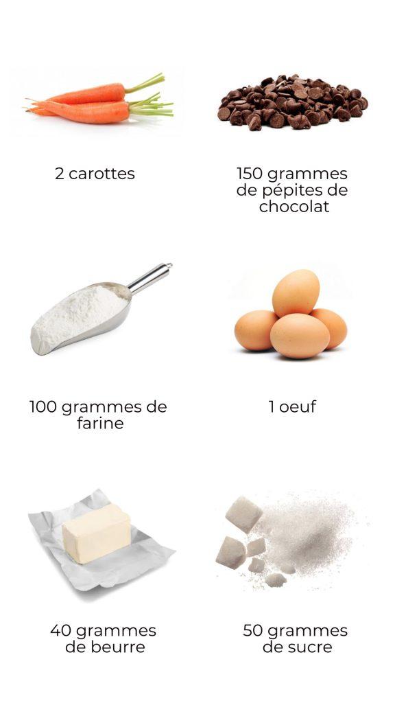 Ingrédients - Cookies aux carottes et chocolat