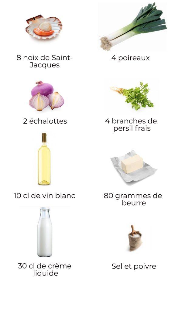 Ingrédients - Coquilles Saint-Jacques à la fondue de poireaux
