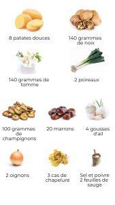 Ingrédients - Patate douce farcie (de Noël)