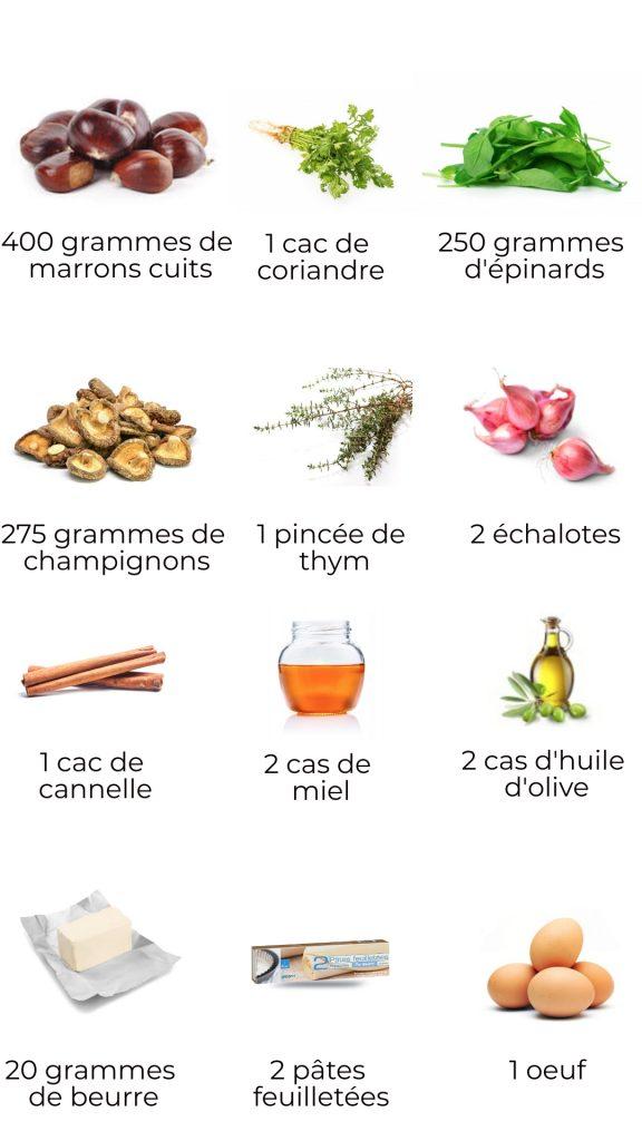 Ingrédients - Tourte végétarienne de Noël