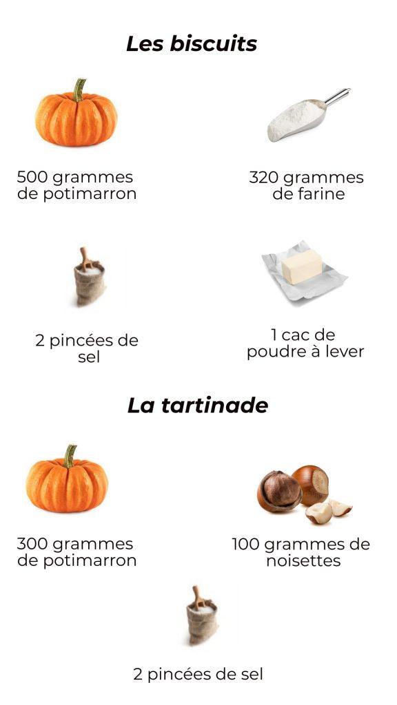 Ingrédients - Tartinade de potimarron et ses biscuits salés
