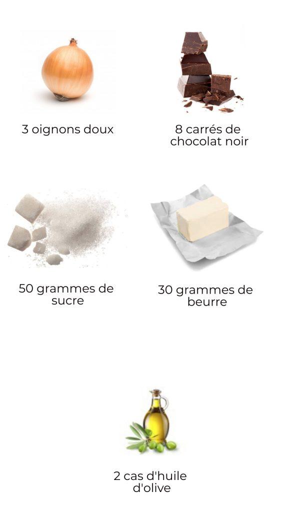 Ingrédients - Compotée d'oignons au chocolat