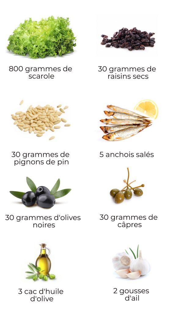 Ingrédients - Scarole à la napolitaine