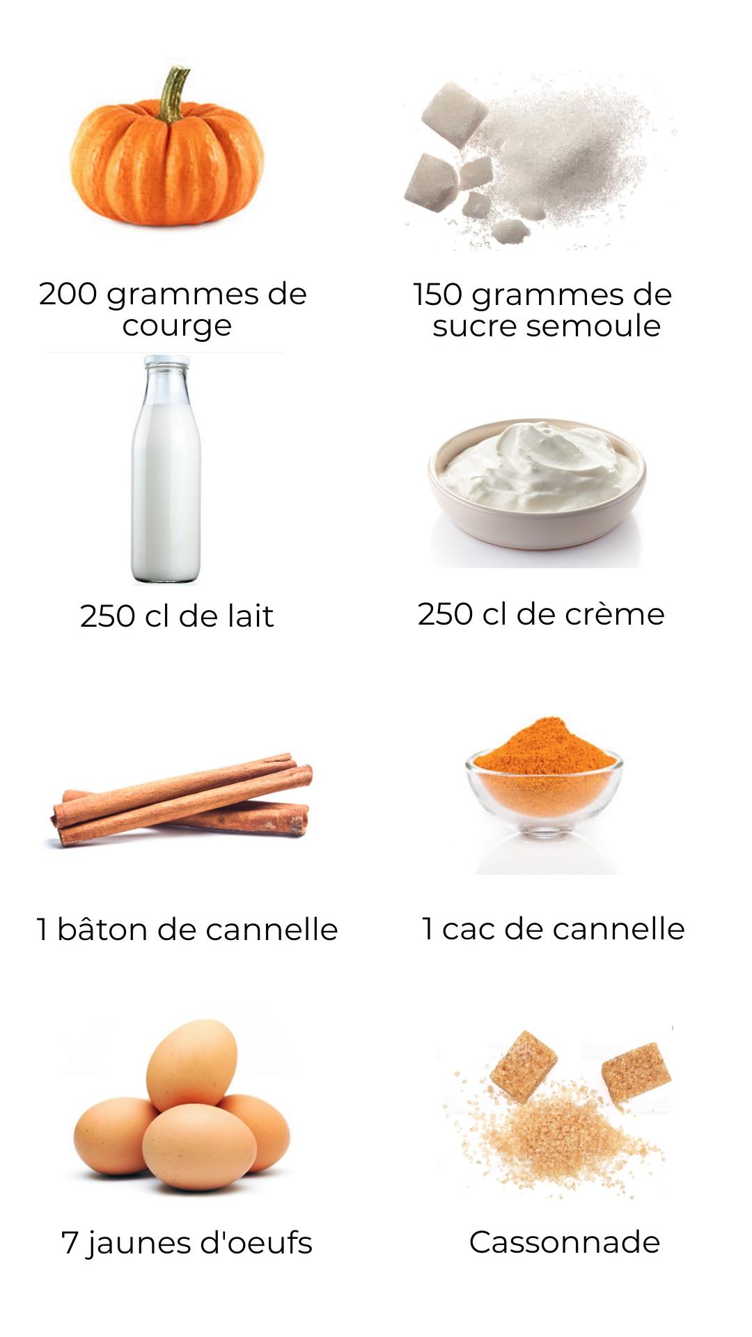 Ingrédients : Crème brûlée courge-cannelle