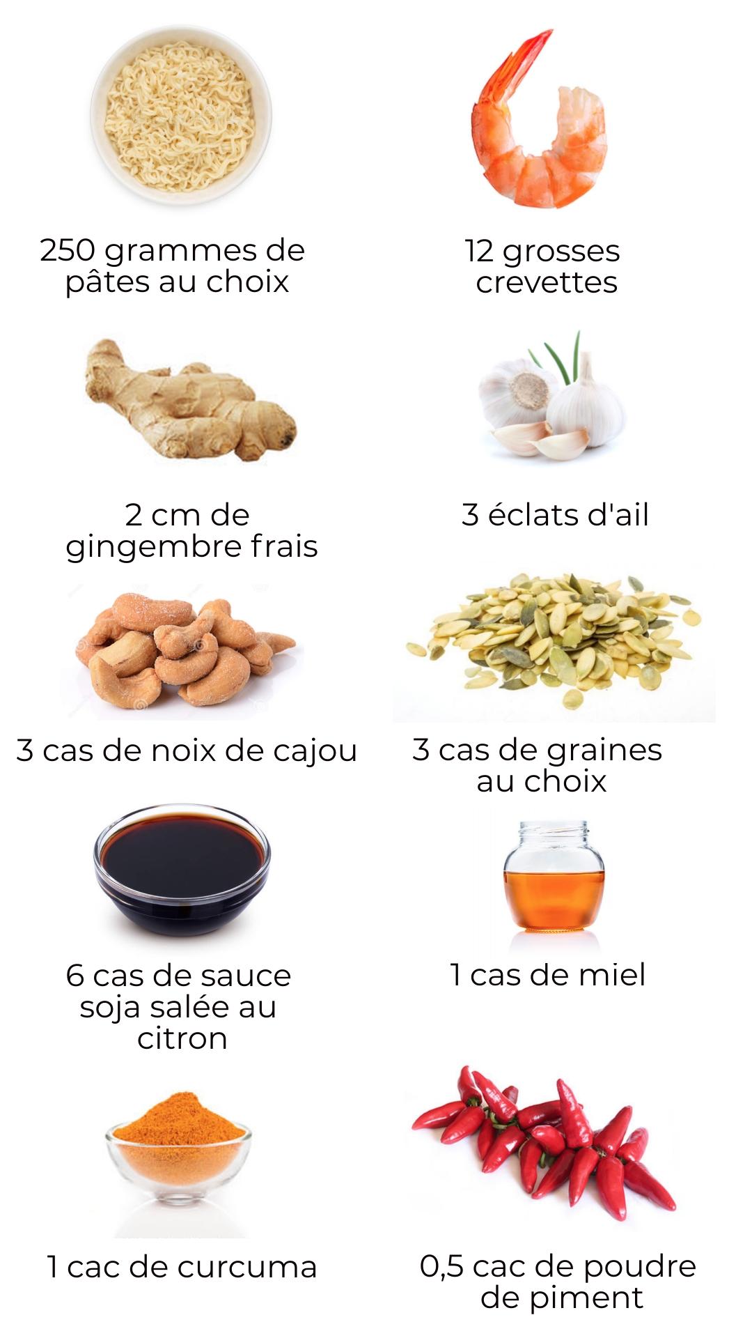 Ingrédients - Nouilles aux légumes et crevettes