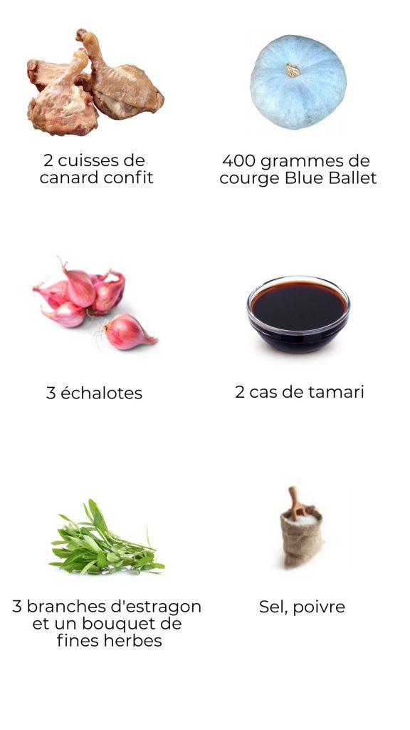 Ingrédients : Parmentier de potimarron Blue Ballet au confit de canard