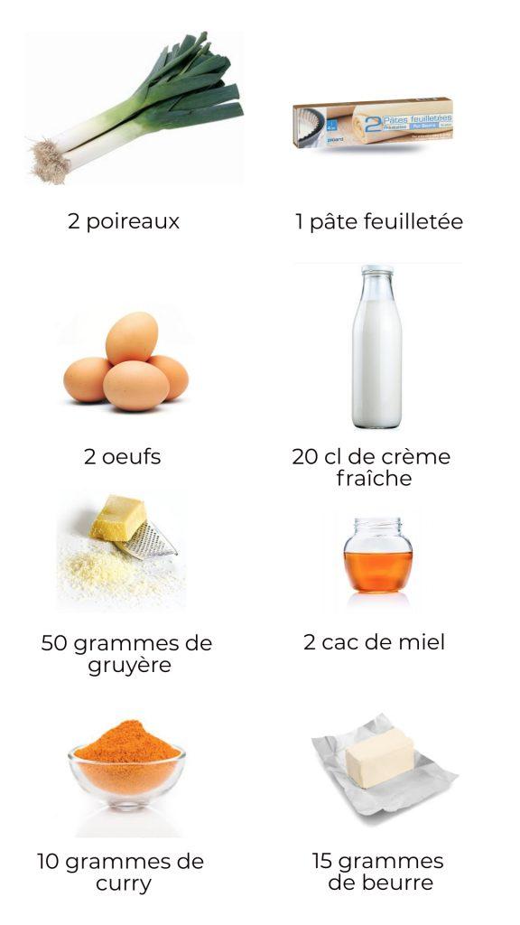 Ingrédients - Quiche aux poireaux, curry et miel