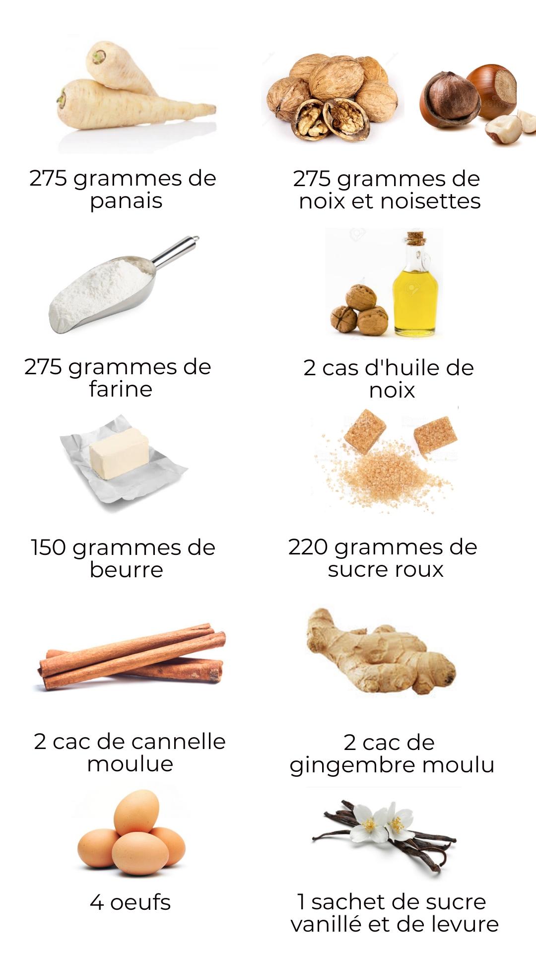 Ingrédients - Cake au panais, noix et noisettes
