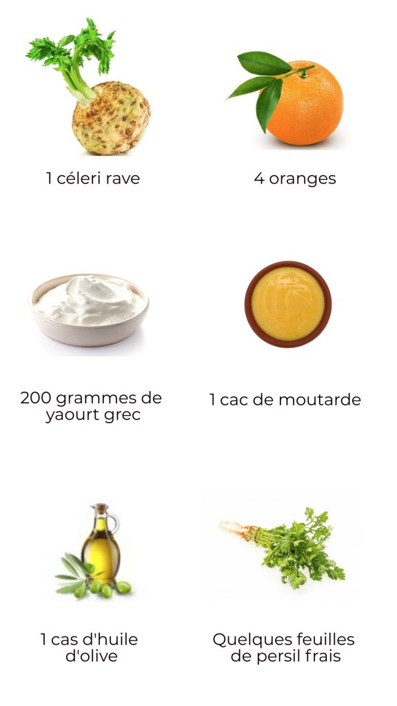 Ingrédients - Salade de céleri rave, épinards et oranges