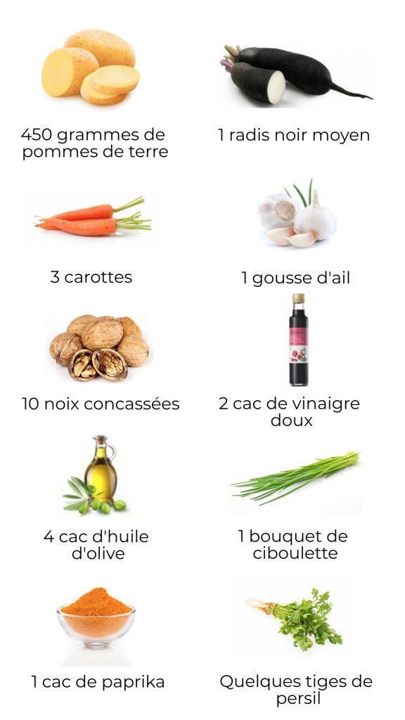 Ingrédients - Salade de radis noir et pomme de terre