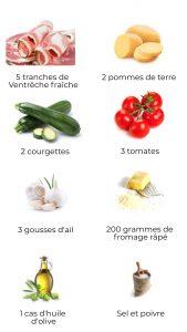 Ingrédients - Gratin de Ventrêche, courgette et tomate