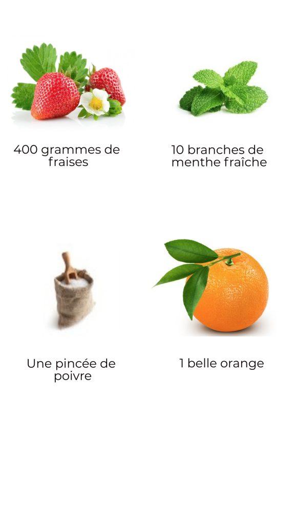 Ingrédients - Fraises marinées à la menthe, à l'orange et au poivre