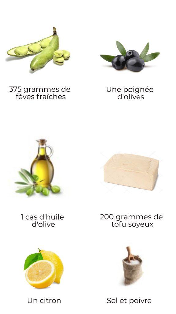 Ingrédients - Tartinade de fèves et olives