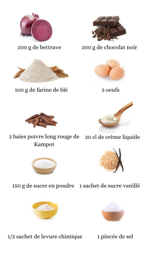 Constituant pour élaborer la recette du gâteau à la betterave et au chocolat