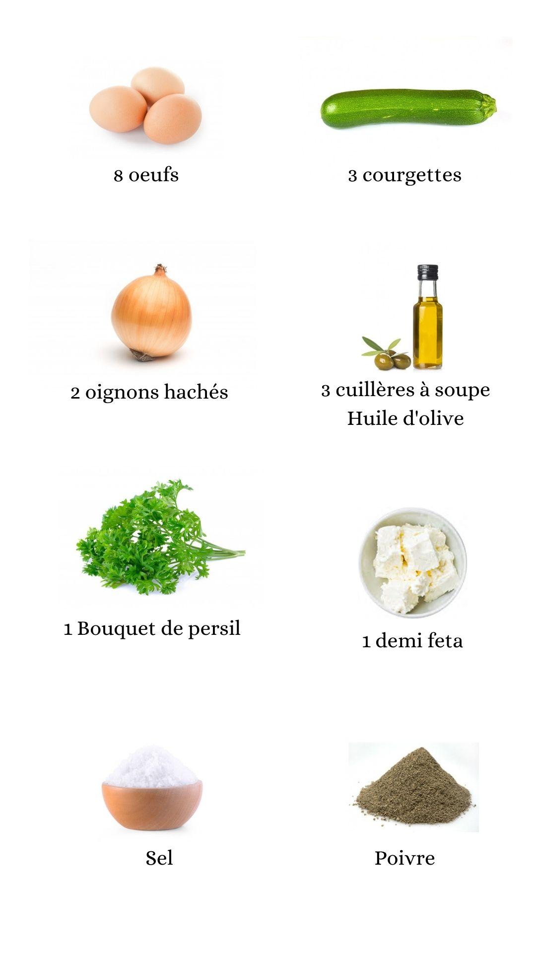 Ingrédients pour les carrés d'omelette aux courgettes