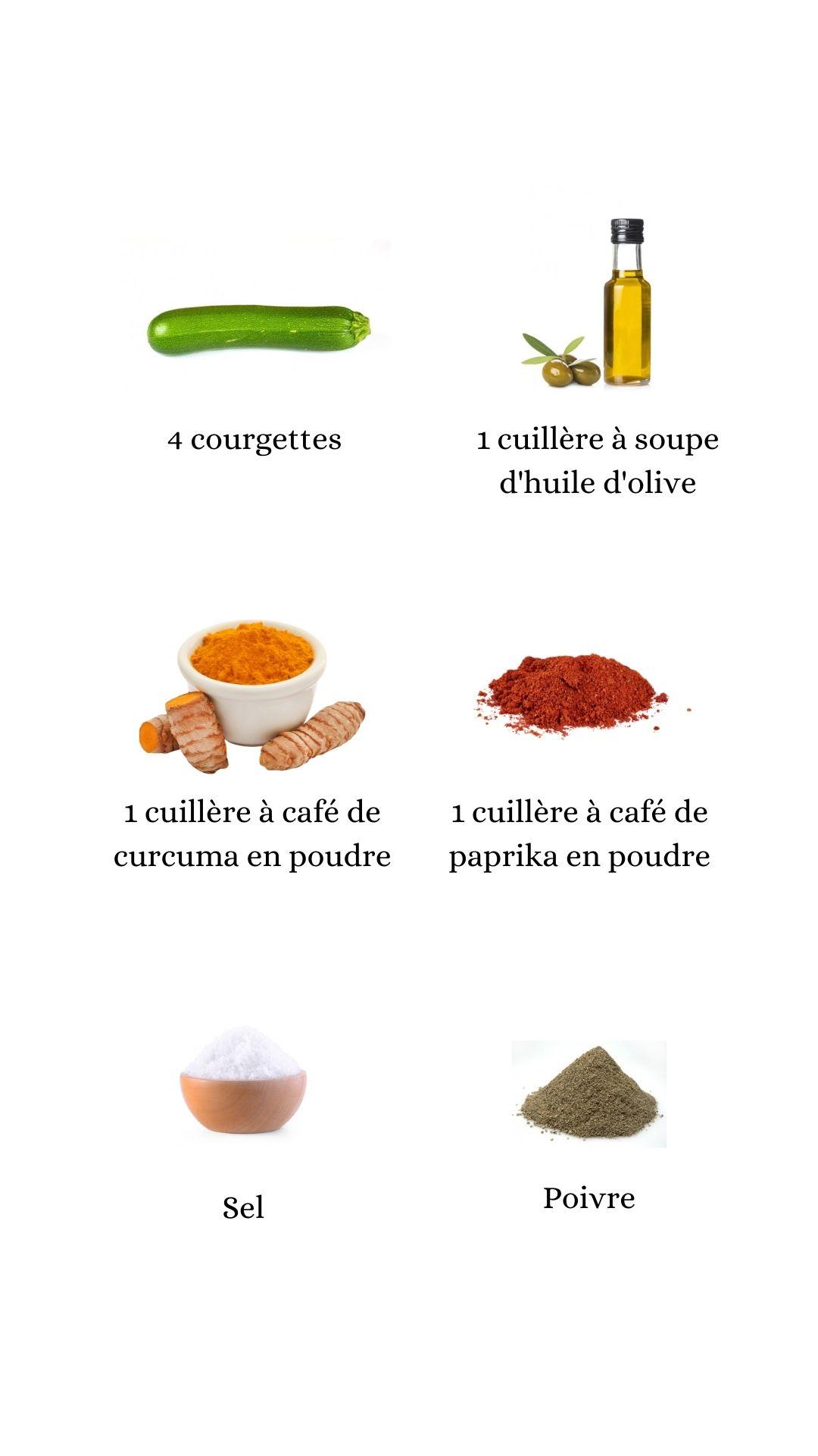 Constituant pour élaborer la recette des frites de courgettes épicées