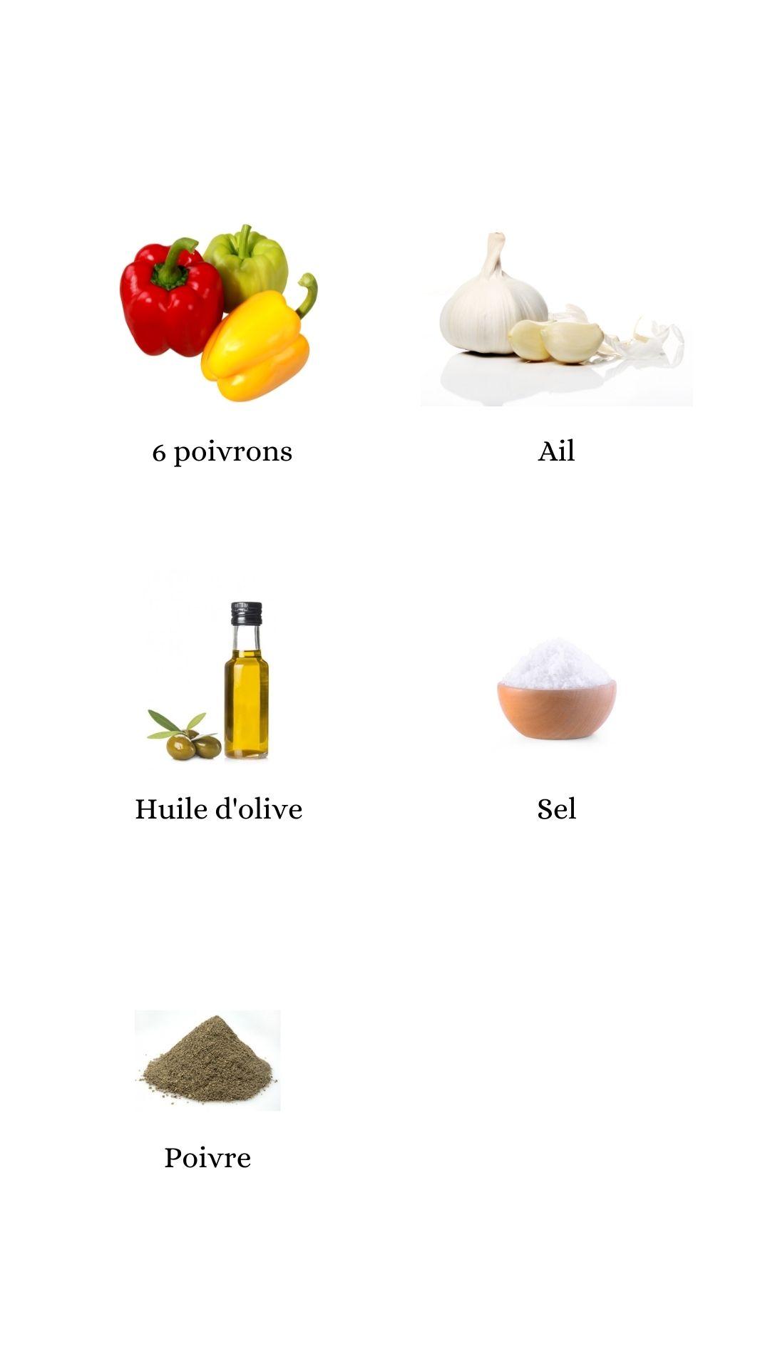 Constituants pour élaborer la recette des poivrons grillés à l'ail