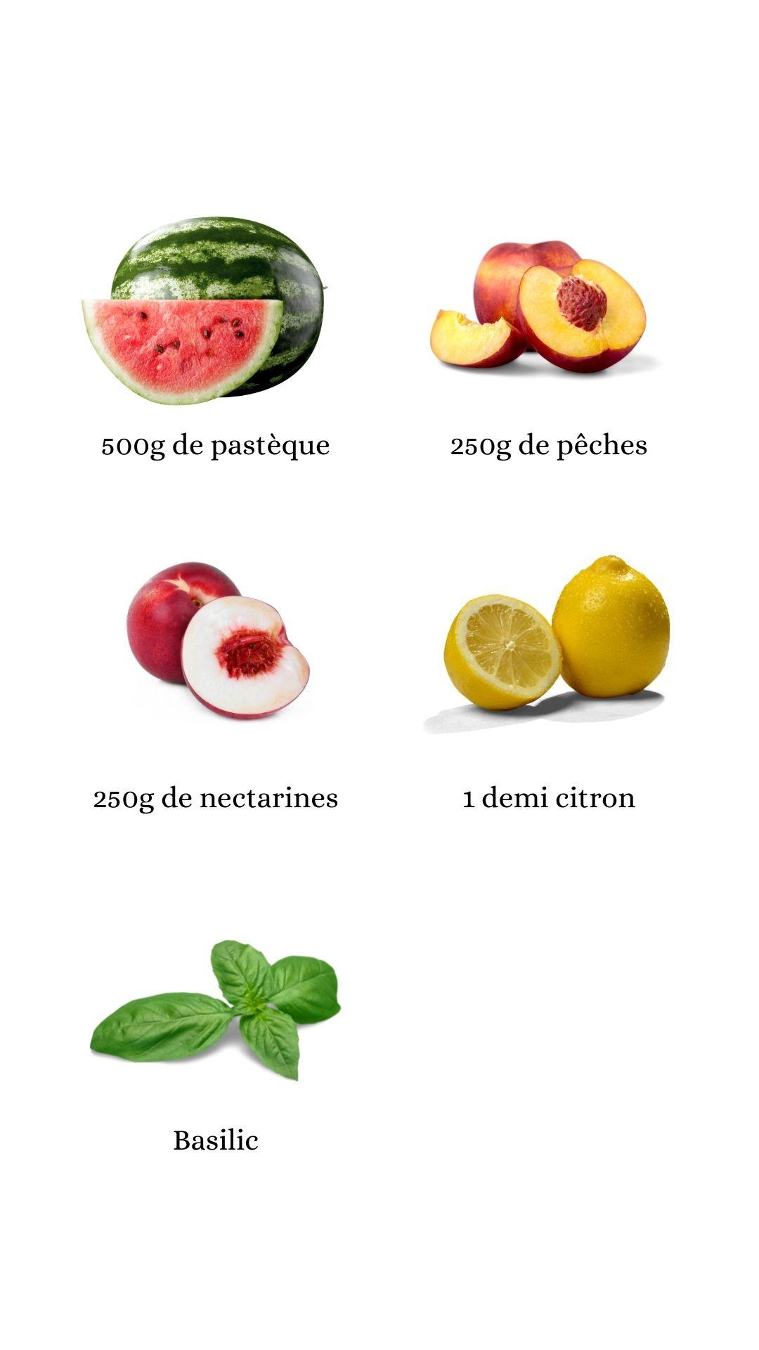 Constituants pour réaliser le jus de pastèque, pêche, nectarine, citron, basilic