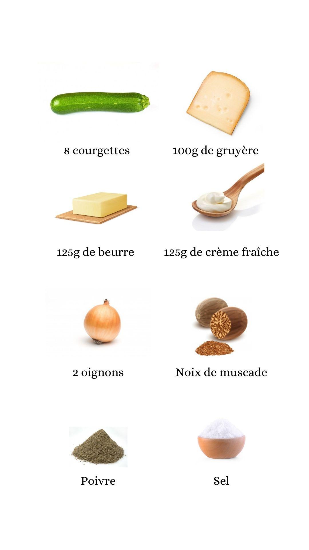 Constituant pour élaborer la recette du gratin de courgettes