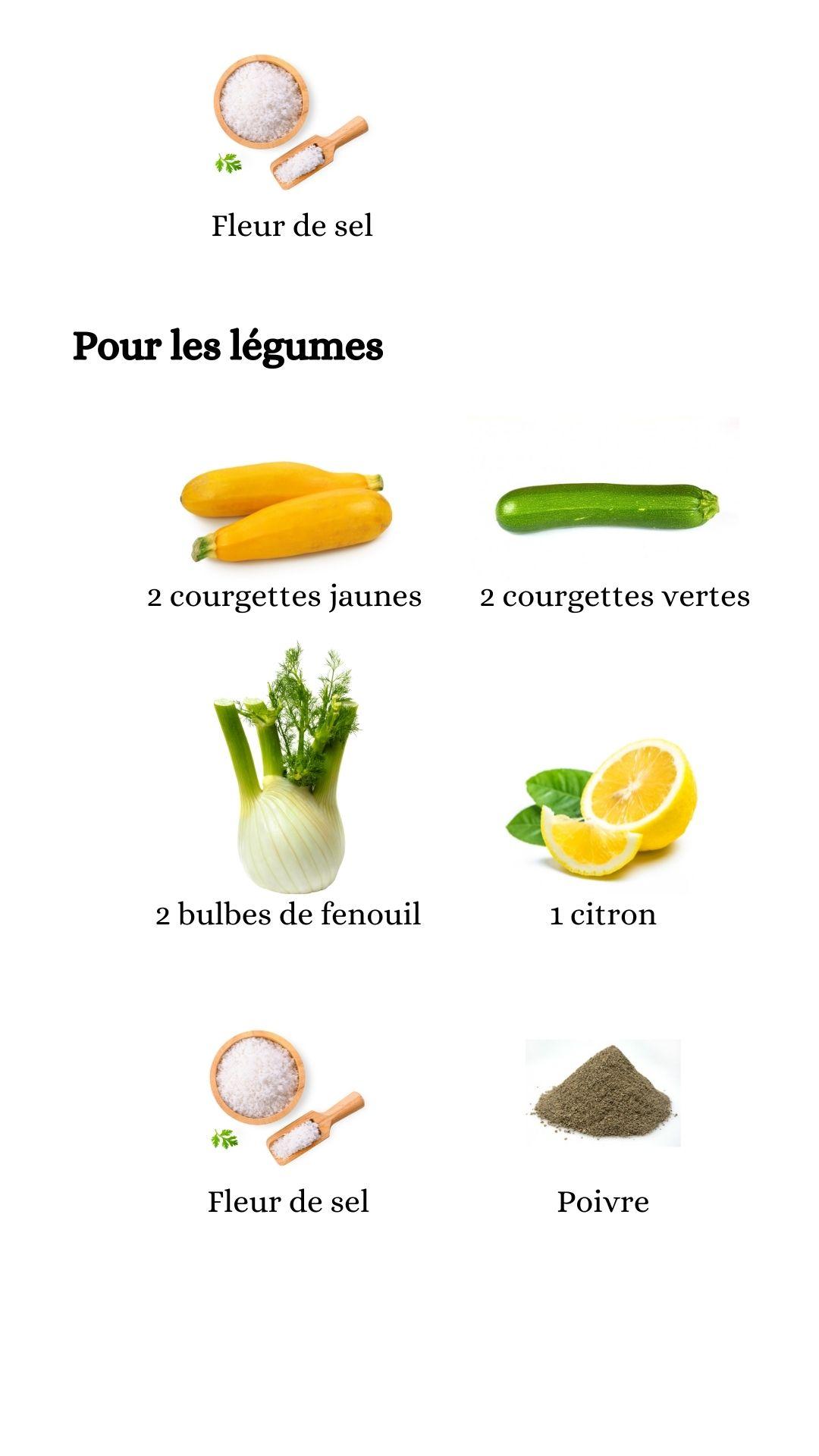 Suite des constituant pour élaborer la recette du poulet au pastis, fenouil courgettes